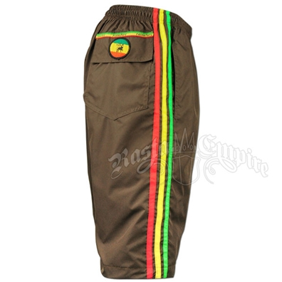 Rasta Lion of Judah Brown Boardshorts - Men's