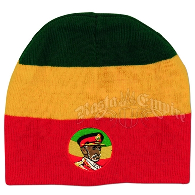 Haile Selassie on Red, Yellow and Green Beanie Cap