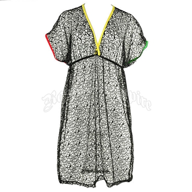 Rasta and Reggae Mesh Cap Sleeve Coverup