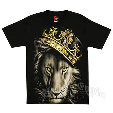Fierce Lion and Crown Black T-Shirt - Men's