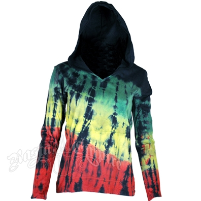 Rasta and Reggae Tie Dye Hooded Long Sleeve Shirt – Women's