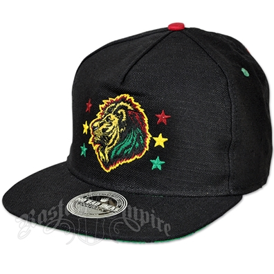 Rasta Lion and Stars Black Cap