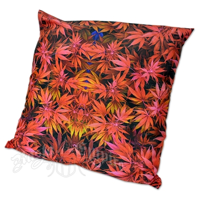 Weed Leaf Red Throw Pillow