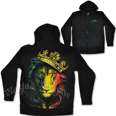 Fierce Rasta Lion and Crown Black Hoodie - Men's