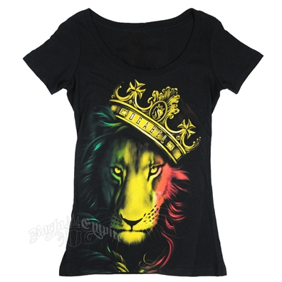 Fierce Rasta Lion and Crown Black Scoop Neck T-Shirt - Women's