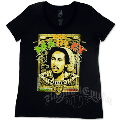 Bob Marley Rastafari Black T-Shirt - Women's