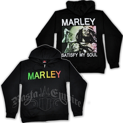 Bob Marley Satisfy My Soul Black Zip Hoodie - Men's