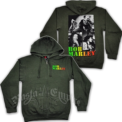 Bob Marley Collage Olive Zip Hoodie - Men's