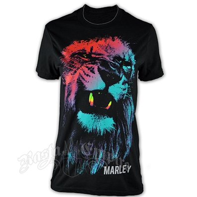 Bob Marley Colored Lion Black T-Shirt - Men's