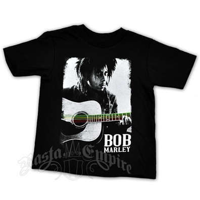 Bob Marley Guitar Black T-Shirt - Youth's