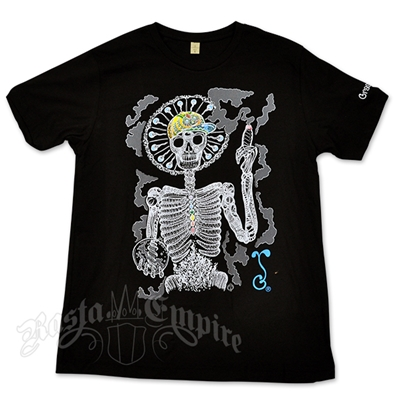Skeleton Smoking Black T-Shirt - Men's