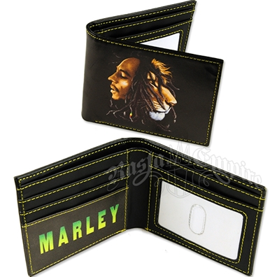 Bob Marley Painted Lion Mens Bifold Wallet Billfold Black