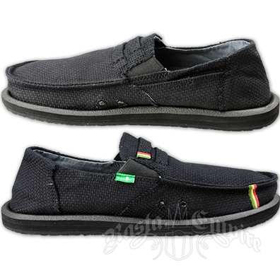 Sanuk Kingston Black Jute Canvas Shoes