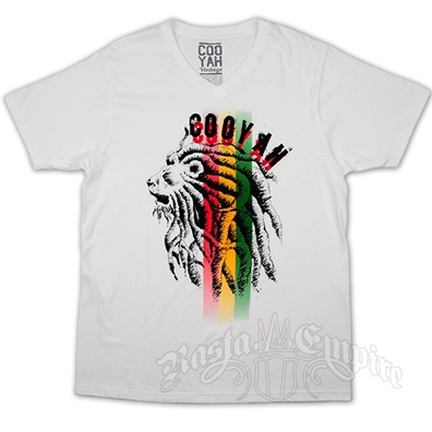 Cooyah Dreaded Lion Rasta Stripe White T-Shirt - Men's