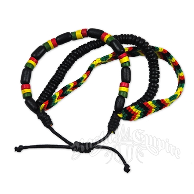 Rasta Bead and Weave Bracelet - 3 in 1 Set