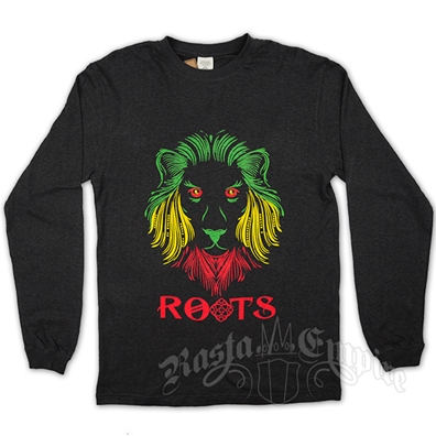 Rasta Lion and Roots Charcoal Long Sleeve T-Shirt - Men's