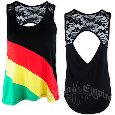 Rasta and Reggae Stripe and Lace Tank Top - Women's