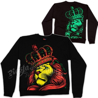 Rasta Lion and Crown Black Crew Neck Sweatshirt - Men's