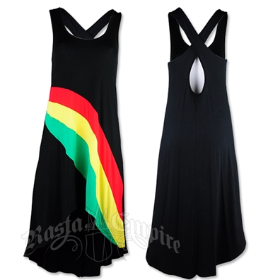 Rasta & Reggae High/Low Criss Cross Back Dress - Women's
