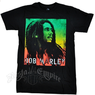 Bob Marley Gradient Stencil Black T-Shirt - Men's