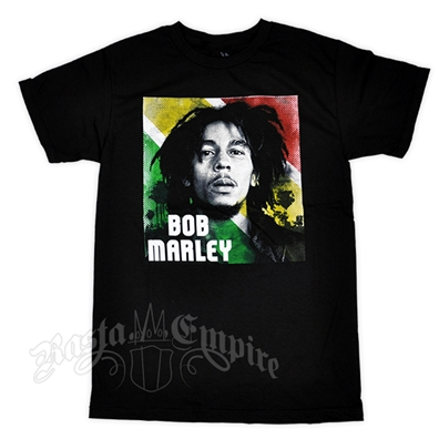 Bob Marley Rasta Portrait Black T-Shirt - Men's