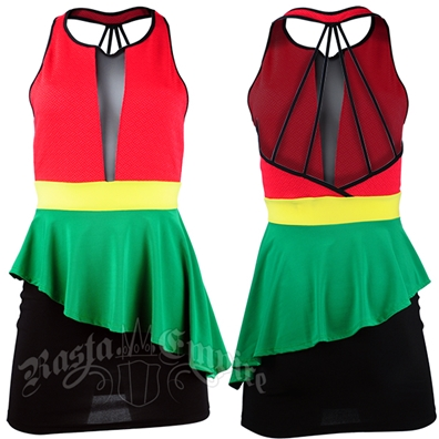 Rasta sleevless mini-dress with form fitting spandex skirt