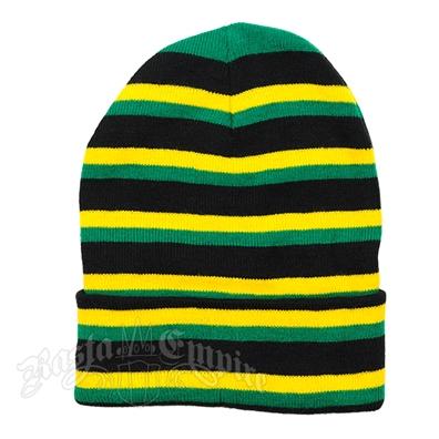 Jamaican Colors Beanie Hat - Black/Rasta