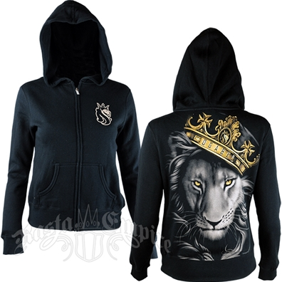 Fierce Lion and Crown Black Hoodie - Women's