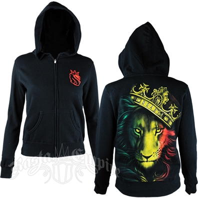 Fierce Rasta Lion and Crown Black Hoodie - Women's
