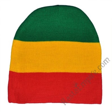 "Rasta Green, Yellow and Red 8"" Beanie Cap"