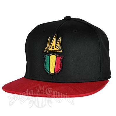 RastaEmpire Shield Logo Black Cap - Red Brim