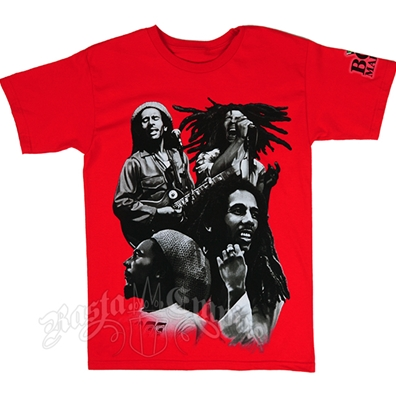Bob Marley Many Faces Collage Red T-Shirt - Men's