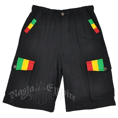Rasta Striped Black Shorts – Men's