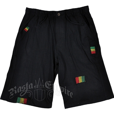 Rasta Stitched Black Shorts – Men's