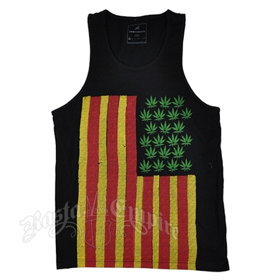 Rasta Marijuana Flag Black Tank Top – Men's
