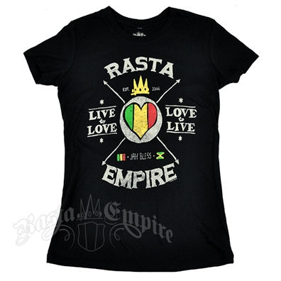 RastaEmpire Live to Love Black T-Shirt – Women's