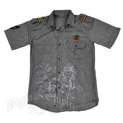 Rasta Lion of Judah Grey Button Down Shirt – Men's