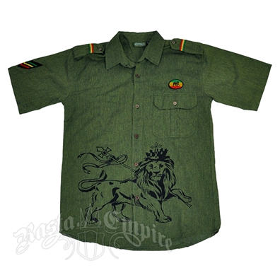 Rasta Lion of Judah Sage Button Down Shirt – Men's