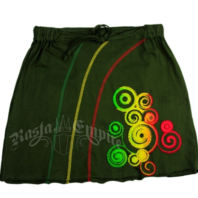 Rasta and Reggae Swirl Green Skirt - Women's