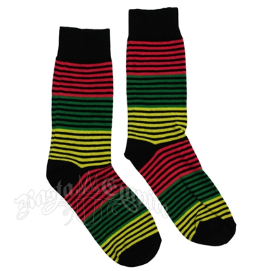 Rasta Stripe Black Socks