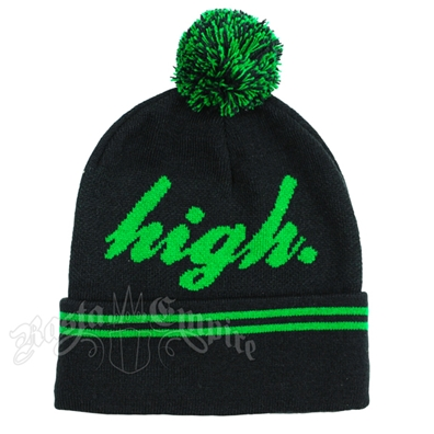 Green High Black Cuffed Beanie
