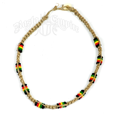 Hemp Macramé Rasta Beads Necklace
