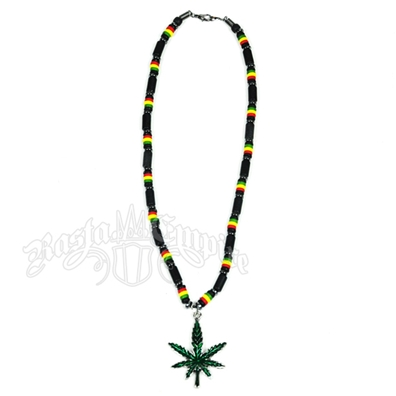 Rasta and Black Bead Necklace with Pot Leaf