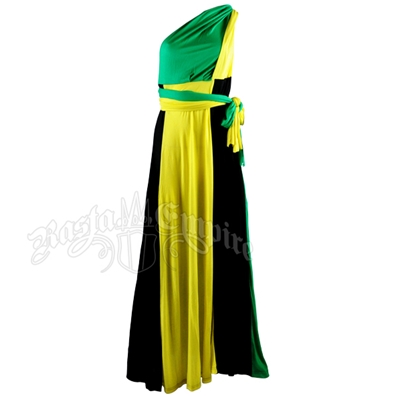 Jamaican Color Block Long Wrap Dress