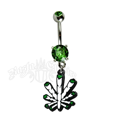 Blunt Pot Leaf Belly Ring