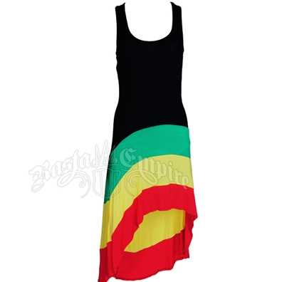 Rasta Stripe High/Low Tank Top Dress