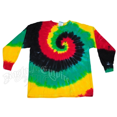 Rasta Spiral Tie Dyed Long Sleeve T-Shirt - Youth's