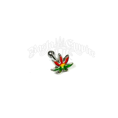 Rasta Pot Leaf Tragus or Helix Barbell Body Jewelry
