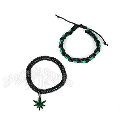 Marijuana Beaded & Green and Black Leather Bracelets - Set