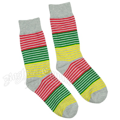 Rasta Stripe Grey Socks